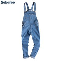 6939770dd8d Sokotoo Men s blue light weight denim bib overalls Korean style slim fit suspenders  jumpsuits Tapered pencil jeans