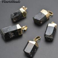 Wholesale tourmaline stones necklace - Popular Natural Black Tourmaline Cylinder Stone Nugget Pendants fit necklce making