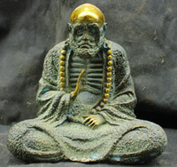 ingrosso scultura-Chinese Fengshui Old Antique Bronze Brass Statue Bodhidharma Buddha Sculpture (A0314)