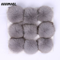 Wholesale boot grey fox - 9 Pieces Natural Silver Fox Fur Pom Poms 10cm Ball Pompom DIY Winter Brand New For Women's Knitted Hats Skullies Beanies Boots