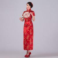 dragão vermelho cheongsam venda por atacado-Vermelho Tradicional Chinesa Vestido De Cetim Qipao Dragão Phenix Longo Cheongsam Plus Size S M XL XL XXL XXXL 4XL 5XL 6XL LF-03