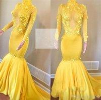 vestido de lentejuelas amarillas al por mayor-Nueva llegada sirena vestidos de fiesta amarillos Cuello alto Mangas largas Apliques Lentejuelas Vestido de fiesta de noche largo fruncido