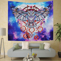 Wholesale large tapestry resale online - Large Owl Printed Polyester Tapestry cm Wall Hanging Hippie Colored Home Decor Art Bohemian Beach Towel Yoga Shawl Mat