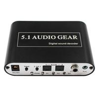 decodificador óptico usb venda por atacado-Venda quente 5.1 Engrenagem de Áudio Digital Sound Decoder Conversor Suporte Dolby DTS Óptico para 3RCA com Porta USB para o Carregamento para DVD XBOX360