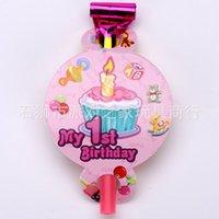 1. çocuklar toptan satış-Parti malzemeleri 6 adet Pembe kız 1st doğum günü partisi çocuklar bebek doğum günü dekorasyon tek Üfleme Ejderha
