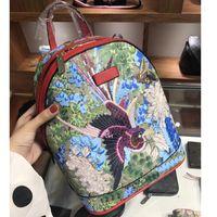 flores de aves al por mayor-Mochila de las mujeres marca italiana de aves famosa flor bordado mochila mochilas de cuero para las niñas bolso de embrague de alta calidad flores mochila