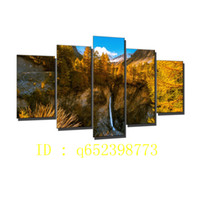 Wholesale oil painting mountains landscape - French Alps,mountains Waterfall,5 Pieces HD Canvas Printing New Home Decoration Art Painting  Unframed   Framed