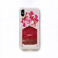 vasos de telefone venda por atacado-Flor dos desenhos animados Flor Garrafa de Perfume Quicksand Liquid Líquido Glitter Phone Case para IPhone XS XR MAX XR 6 7 8 Casos Mais vaso para Iphone X 8 caso