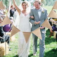 Wholesale Burlap Wedding Banners - New 2.8m Vintage Jute Rope Hessian Burlap Banner Bunting Pennant Wedding Decoration Photography Props Party Decoration 13 Flags