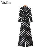 Wholesale Vintage Playsuits - Vadim vintage V neck dot print jumpsuit belt elastic waist pockets rompers female fashion streetwear playsuits mujer KZ1207