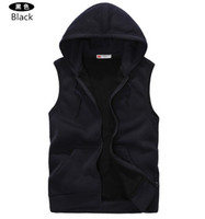 Wholesale xxl size man cardigan online – oversize Mens Sleeveless Hoodies Fashion Casual Hooded Polyester Sweatshirt Men Hip Hop Men s Sportswear High Quality Color Size M Xxl Hot Sale