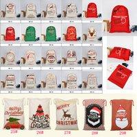 lienzos de navidad al por mayor-29 estilos Estilos de dibujos animados con lazo de Navidad bolsas Papá Noel grandes renos Monogramable Navidad regalos para niños Saco Bolsas Bolsa de Navidad FFA590