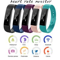 Wholesale Bluetooth Vibrate - Bluetooth Smart Bracelet Step Counter Sleep Heart Rate Monitor Alarm Clock Vibrating Wristband Smart Watch
