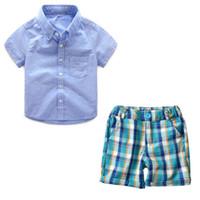 pantalon garçon deux couleurs achat en gros de-Printemps et automne New Kids Set coréen à manches longues couleur unie chemise de modèle de voiture + pantalon bavoir garçon deux pièces