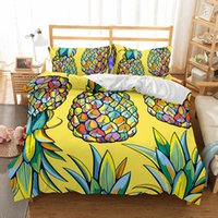 Wholesale cartoon bedding queen - Cute Cartoon Pineapple&flowers Pattern Home Living Child Polyester Bedding Sets All Sizes Duvet Cover No Filler