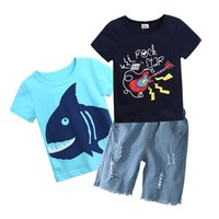 Wholesale jeans pant shirts - Cartoon Boys Childrens Cothing Set Shark T-shirts Guitar Tshirts Jeans Shorts 3Pcs Set Summer Cotton Pants Suits Boutique Enfant Clothes Set