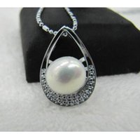 "Wholesale south sea pearls singapore - real beautiful south sea 10-11 mm white natural pearl pendant necklace 18"" !"