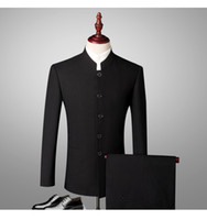 Wholesale custom school uniforms - New High Quality Man Chinese Tang Suit Custom Made Female Chinese Tunic Suit High School Uniform Men Business Blazer