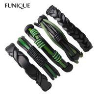 браслеты браслеты для мужчин оптовых-FUNIQUE 5-6pcs/set Braid Wrap Male Bracelets & Bangles for Men Multilayer Leather Wristband Bracelet Men Punk Pulseira Masculina