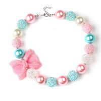 ingrosso acrylic bow beads-Ragazze Glitter Bow Beaded collana 40cm rosa blu bianco acrilico perline carino toddlers ewelrys bubblegum collana per il compleanno festa di Natale