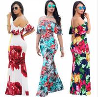off omuz mini elbiseleri toptan satış-Ruffles Kapalı Omuz Çiçek Elbise Yaz Parti Bodycon Elbise Kısa Kollu Ruffles Boho Elbise Günlük Elbiseler 8 Renkler OOA4901