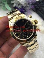 sarı siyahı mekanik izle toptan satış-Sıcak Satmak Moda saatler 40mm 116528 116508 18 k Sarı Altın Siyah Dial Asya 2813 Otomatik Mekanik Mens Izle Saatler Noel hediyesi