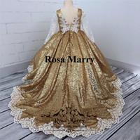 altın yüzük ve artı boyutu cüppe toptan satış-Altın Payetli Balo Kız Pageant elbise 2020 Vintage Dantel Uzun Kollu Artı Boyutu Ucuz Toddlers Çocuklar Cupcake Pageant Gençler için Elbiseler