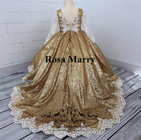 Wholesale Wedding Dresses Cupcake - Gold Sequined Ball Gown Girls Pageant Dresses 2018 Vintage Lace Long Sleeves Plus Size Cheap Toddlers Kids Cupcake Pageant Dresses for Teens