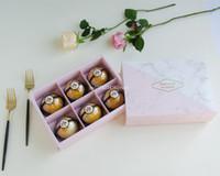 ingrosso confezione di cioccolato in plastica-Scatole regalo in carta di marmo rosa da 100 pz. Confezione scatola di biscotti con finestra in pvc di plastica