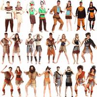 trajes originais do carnaval venda por atacado-2018 mulheres homens africano original indiano traje selvagem adultos wildman trajes cosplay halloween carnaval dress party decoração