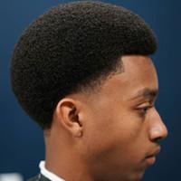 erkekler için tam peruk toptan satış-Brezilyalı Saç Afrika Ameri kısa Kıvırcık Peruk siyah erkekler Afrikalılar için bebek saç ile tam dantel peruk
