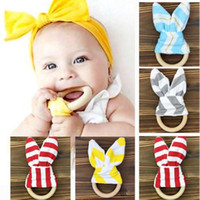 Wholesale Toy Ring Baby - Baby teether molar tooth ring hoop rabbit ears tooth rubber hand rattles teeth exercise toys