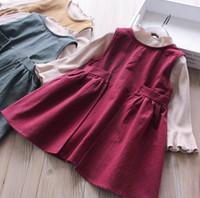 20915d37683b6 Enfants princesse tenues automne filles à volants col falbala manches rayure  verticale T-shirt + gilet plissé robe 2pcs ensembles vert kaki rouge F0061