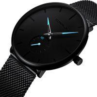 ultra ince saat erkekler toptan satış-Erkekler Lüks Marka yüksek kalite moda Kuvars İzle basit tasarım Ultra ince arama Paslanmaz çelik milan örgü kayış Su Geçirmez Saatler