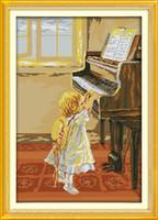 pinturas de niñas al por mayor-La niña y el piano pinturas de decoración, hecho a mano de punto de cruz bordado conjunto de costura contado impresión en lienzo DMC 14CT / 11CT