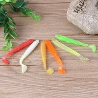 Wholesale 2g lures online - 20pcs cm g Artificial Soft Bait Worm Swimbaits Fishing Lure Color silicone T Tail Lure Fly Fishing Bait