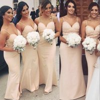 Wholesale Bridesmaid Dresses Pale Blue - Pale Pink 2018 Bridesmaid Dresses For Summer Country Weddings 2018 New Sexy Spaghetti Straps Beaded Sequins Maid of Honor Gowns