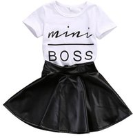 Wholesale Leather Animal Suits - New Fashion Toddler Kids Girl Clothes Set Summer Short Sleeve Mini Boss T-shirt Tops + Leather Skirt 2PCS Outfit Child Suit