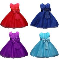 Wholesale dress neck designs for girls resale online - Princess Flower Girl Dress Summer Tutu Wedding Birthday Party Dresses For Girls Children s Costume Teenager Prom Designs