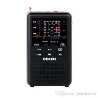 mw mp3 venda por atacado-Brand New DEGEN DE36 FM Estéreo FM1-2 / MW / SW1-8 Full-band Mundial Receptor MP3 Player Rádio-Preto Y4238A