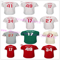 Wholesale Womens Xxl - Mens Youth Womens 27 Aaron Nola 17 Rhys Hoskins Jake Arrieta Roy Halladay Mike Schmidt Maikel Franco Home Away Philadelphia Baseball Jerseys