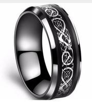 gold-kohlefaser-ring großhandel-316L Edelstahl Ring in schwarz 18k vergoldet Carbon Fibre Ring Dragon Ringe für Männer 2822