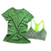 ingrosso tintura dello spazio-Sport di tintura dello spazio sexy delle donne sport regolano le camice di yoga di dimagramento + il carro armato di sport senza cuciture supera l'abbigliamento del vestito di yoga di due pezzi degli indumenti sportivi
