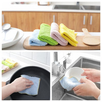 Wholesale Dish Washing Cloth - High Efficient Anti-grease Color Dish Cloth Microfiber Washing Towel Magic Kitchen Cleaning Wiping Rags 600PCS YYA1077