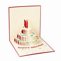 vintage grußkarten leer großhandel-Alles Gute zum Geburtstag Postkarte Gruß Geschenkkarten Blankopapier 3D Handmade Pop Up Laser Cut Vintage Einladungen Custom mit Umschlag