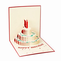 costume feliz aniversário venda por atacado-Feliz Aniversário Cartão Postal Cartões de Presente Em Branco Papel 3D Handmade Pop Up Corte A Laser Convites Do Vintage Personalizado com Envelope