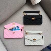 Wholesale pink rose handbag - Luxury CC style Wallet card holder silicone ruber Case for iPhone x 8 Plus 7 Phone holder stand Cover for iPhone 6 6s
