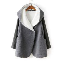 ingrosso caldi cardigan con cappuccio lungo lana-Cappotto da donna in pile cardigan donne autunno / inverno caldo addensare cappotto di lana donna lungo sciolto casual giacca con cappuccio imitazione donne giacca