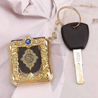 Wholesale New Muslim Keychain Resin Islamic Mini Ark Quran Book Real Paper Can Read Pendant Key Ring Key Chain Religious Jewelry