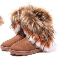 Wholesale fox rabbit hair online - Fashion Rabbit hair and Fox Fur In tube Color matching warm snow winter boots for women ladies Winter Ankle boots